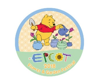 Epcot International Flower and Garden Festival - Winnie the Pooh Button - Theme Park Pin - Disney Park Badge - Epcot Park Button - Pooh Pin