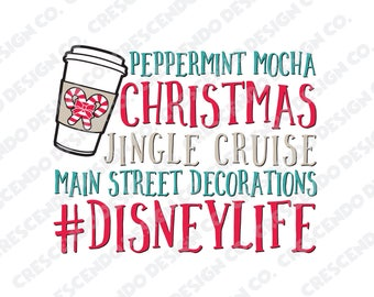 Disney Christmas SVG, Eps, Pdf, Png for Cricut Iron-On Decal Cutting File/Clip Art, Disney Family Shirt, Disney Life, Peppermint Mocha