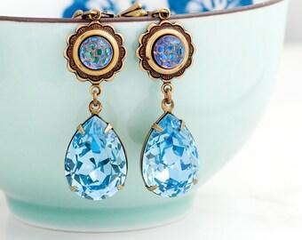 Aquamarine Crystal Earrings, Blue Earrings Statement, Aqua Earrings, Swarovski Crystal Jewelry, Blue Rhinestone Earrings Dangle, Clarabella