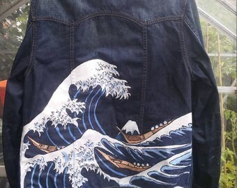 Hand painted denim jacket - The Great Wave off Kangawa - Hokusai