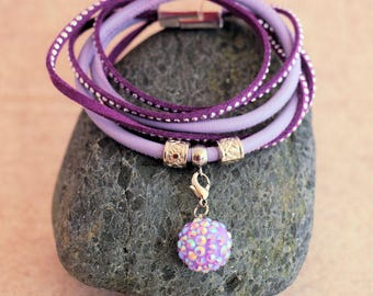 Wrap bracelet made of nappa and suede-lilac/Lilac