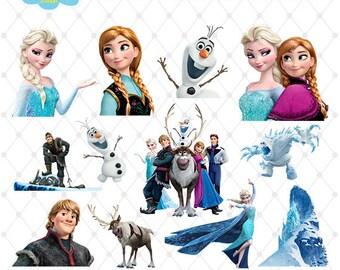 Frozen Clipart, PNG Clip Art Files, Frozen Printable Images, Digital Download, Elsa Anna Disney, Scrapbook, Transparent Background, Blue-009