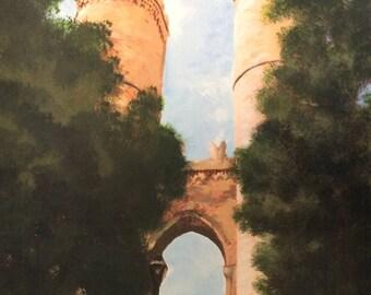 Genoa Castle Gates- Giclee print of original artwork