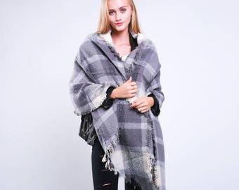Plaid Blanket Scarf,Monogrammed,Personalised Gift,Oversized Scottish Tartan Plaid Scarf Wrap Poncho Stole,Warm Winter Scarf Women Wrap Shawl