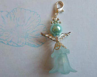 Blue angel beaded bag charm - lucky charm - guardian angel - zipper pull - gifts for Her