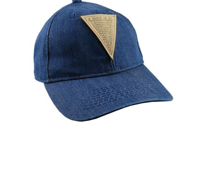 A Slice of Pi Math Pun Laser Engraved Genuine Leather Patch Sewn on an Adjustable Blue Denim Baseball Cap