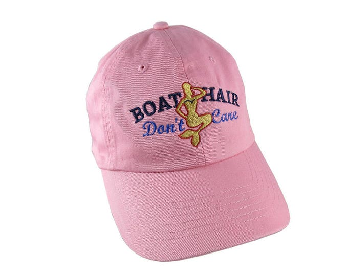 Nautical Mermaid Boat Hair Don't Care Embroidery on an Adjustable Pink Unstructured Baseball Cap Dad Hat with Option to Personalize the Back