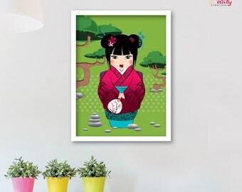 Deco red Japanese kimono nature green kawaii Kokeshi girl POSTER