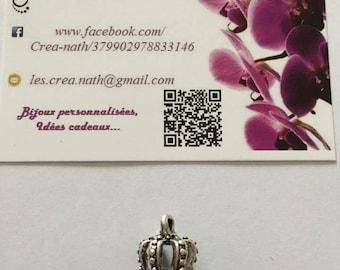 1 Crown tip openwork silver metal charm