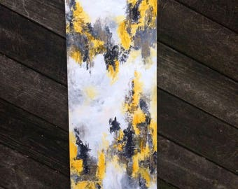 Black, Gray & Yellow Abstract Textured Painting