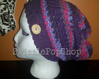 READY TO SHIP!  purple slouchy hat
