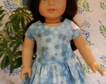 American Girl Doll-Blue and White Snowflakes on a Field of Blue with Hat