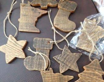 Rustic Wood Christmas Stocking Ornament
