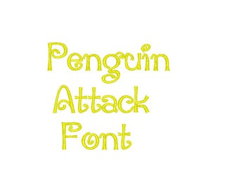 Penguin Attack Embroidery Font comes in 3 sizes 10 formats