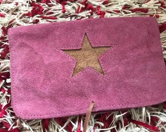 Pink Handmade Suede Tobacco Pouch
