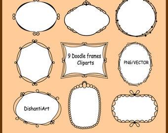 Digital Frames Clipart, Doodle Frames, Vector frames doodle