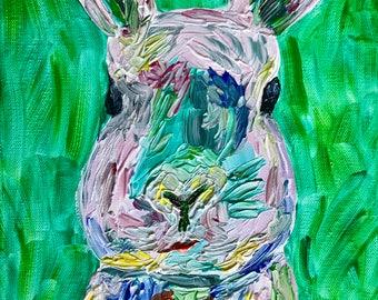 Spring Bunny Original Acrylic Painting on Canvas