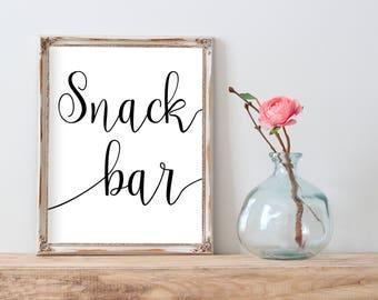 Snack Bar Sign, Printable Wedding Reception Signs, Wedding Printable Snack Table, Wedding Sign Printable, Wedding Signs, Wedding Signage