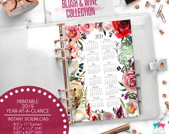 Printable Calendar A5 A4 Letter Watercolor Planners 2019 Year at a Glance   Blush and Wine Floral Collection   BWCYG19