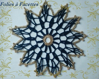 Crochet doily star Christmas blue and gold