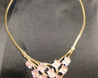 Vintage Signed Crown Trifari Gold Tone Floral Necklace