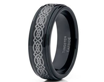 Black Tungsten Wedding Band Celtic Laser Design Black Tungsten Wedding Ring Men & Women Tungsten Carbide Ring Comfort Fit