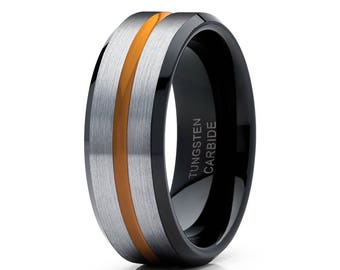 Orange Tungsten Wedding Band Grey Tungsten Ring Black Tungsten Band Men & Women Tungsten Wedding Ring Anniversary Ring