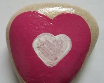 Hand Painted Heart Rock Paperweight Desk Decor Garden Porch Patio