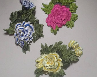 Flower Patch , sew on patch, flower applique, large floral patch, large floral applique, fabric and notion,