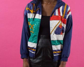 90s Windbreaker, Seapunk, Vintage Windbreaker, Nautical, Navy Blue, Green, Anchor, 90s Clothing, 80s Windbreaker, 90s, 80s, Colorful