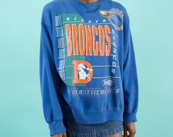 Broncos, NFL, Denver, Sweatshirt, 90s Vintage, Broncos Football, Super Bowl, Season, Navy Blue, Orange, Sunday Football, 90s, Game Day