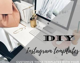 DIY Social Media Templates Customizable Rose Gold for Instagram