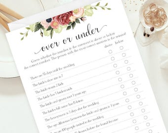 Over or Under Bachelorette Game, Floral Bridal Shower Games, Downloadable Games, Printable Bachelorette Party, Party Game Quiz, flo-10