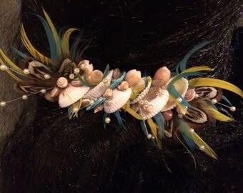 Wedding Hair Clip,Feather Hair Clip,Shell Hair Clip,Seashell Hair Clip,Polynesian Style Hair Clip,Hawaii Seashell Hair Clip,Raffia Hair Clip