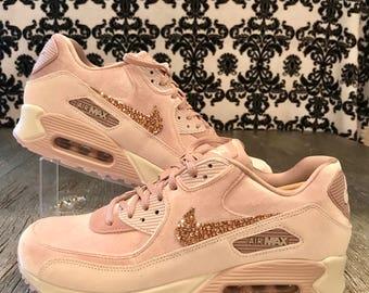 Nike Air Max 90 LX Velvet Pink(shown in Rose Gold Swarovski)