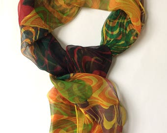 Wave to Circle Abstract hand printed Silk chiffon scarf  geometric pattern multicoloured art scarf yellow orange green purple and blue