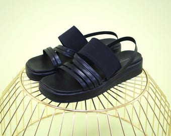 Unique find vintage Andrew Geller  black strappy modern platforms