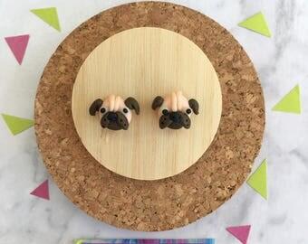 Pug Stud Earrings •  Polymer Clay  •  Handmade  •  Stainless Steel  • Gift Idea  • Dog Earrings • Pugs • Jewellery •