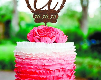 Wedding Cake Topper Letter A Date Wooden letter Single Letter Cake Topper Gold Monogram A cake topper Wood initial cake topper initial A B C