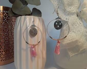 Pink star ring earrings