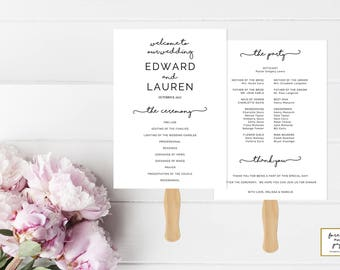 Program Fans For Wedding, Programs Templates Modern, Program Fans Template, Program Wedding Template, Instant Download, Minimalist, PDF