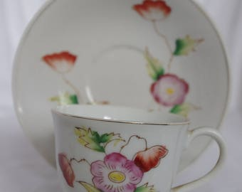 Vintage Made in Occupied Japan Tea Cup and Saucer by Unknown Maker, Pink and Red Flowers, Gold Edging