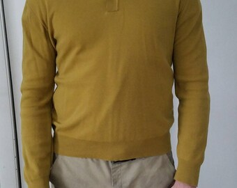 Mid Century Collared Mens Long Sleeve, Vintage Long Sleeve, 1960s 1970s