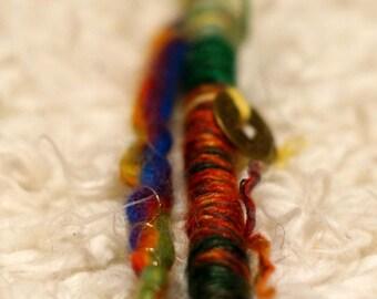Shamanic rainbow hair wrap and fairylock