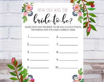 How Old Was The Bride To Be, Bridal Shower Game, Printable, Bachelorette Party, Cards, Size 5x7, Roses, Instant DIGITAL DOWNLOAD