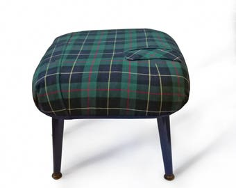 Tartan Footstool - Footstool Large - Upholstered stool - Upholstered footstool - Blue tartan footstool