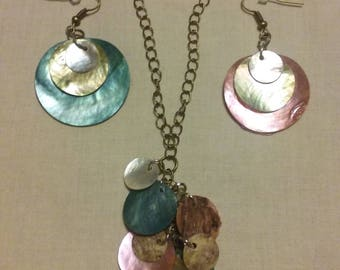 Bronze and Shell Necklace-Earring Set