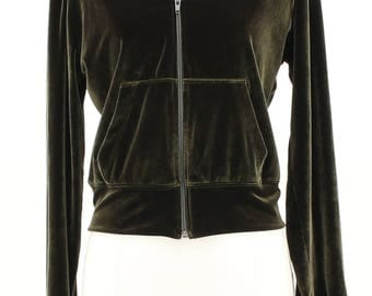 BCBG MAXAZRIA Cropped Green Velvet Jacket Size Medium
