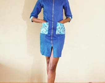 FOLKSHELF African Print Denim Bodycon Dress