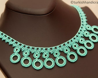 A set of Handmade beaded Lace Necklace and Wristband - produced by local Women of Cappadocia ( in Central Turkey )